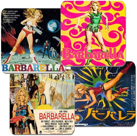 Barbarella Movie Poster Coasters Set Of 4. High Quality Cork Sci Fi Vintage Film